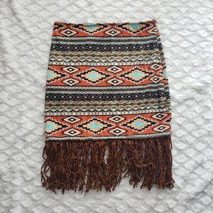 Reverse Western Skirt with Fringe